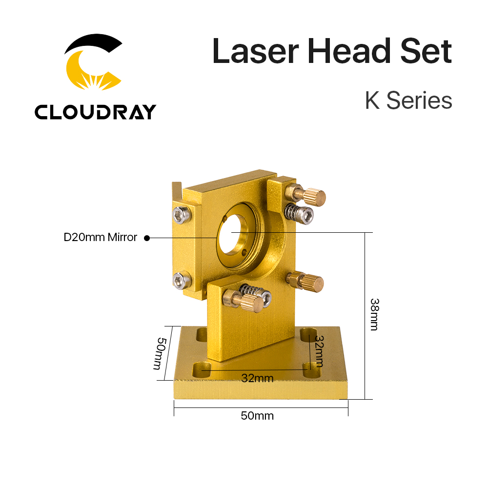 Купить с кэшбэком Cloudray K Series Blue Golden  CO2 Laser Head Set with Lens Mirror for 2030 4060 K40 Laser Engraving Cutting Machine