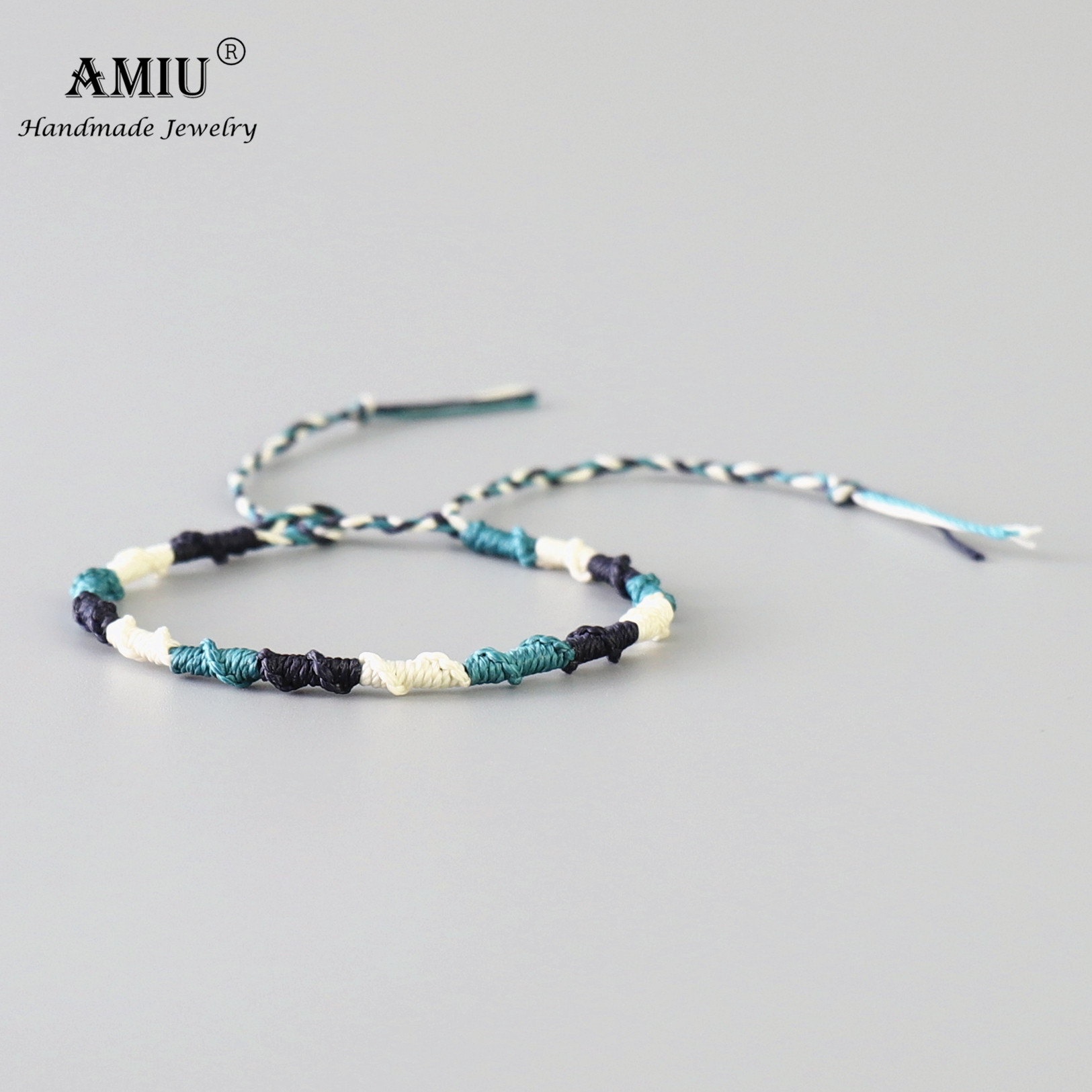 AMIU Handmade Waterproof Wax Thread Woven Wrap Bracelet Simple Rope Knot Bracelet Friendship Bracelet for Men and Women
