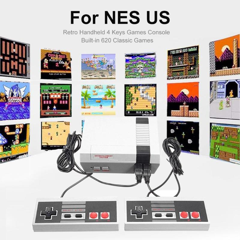cheapest Video Retro Games Console Duble Gamepad with 8 Bit Support AV Out Put   Family TV Video Game with 2 Pcs Controller