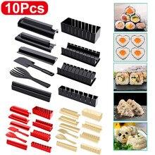 10 Teile/satz Diy Sushi Werkzeuge Set Multifunktionale Roll Sushi Maker Reis Form Japanischen Sushi Mould mit Handschuhe Küche Kochen Werkzeuge