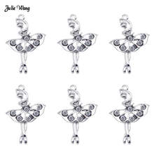 Julie Wang 5pcs 10pcs Fashion Alloy Ballet Girl Charms With Rhinestone Pendant For Women Necklace Earrings Jewelry DIY Accessory
