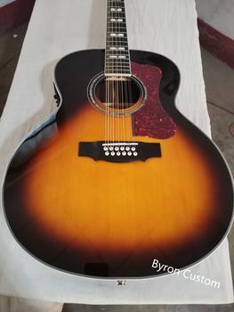 цена на free shipping ebony fretboard F512 guitar sunburst jumbo size 12 string acoustic electric solid guitar guild style guitar