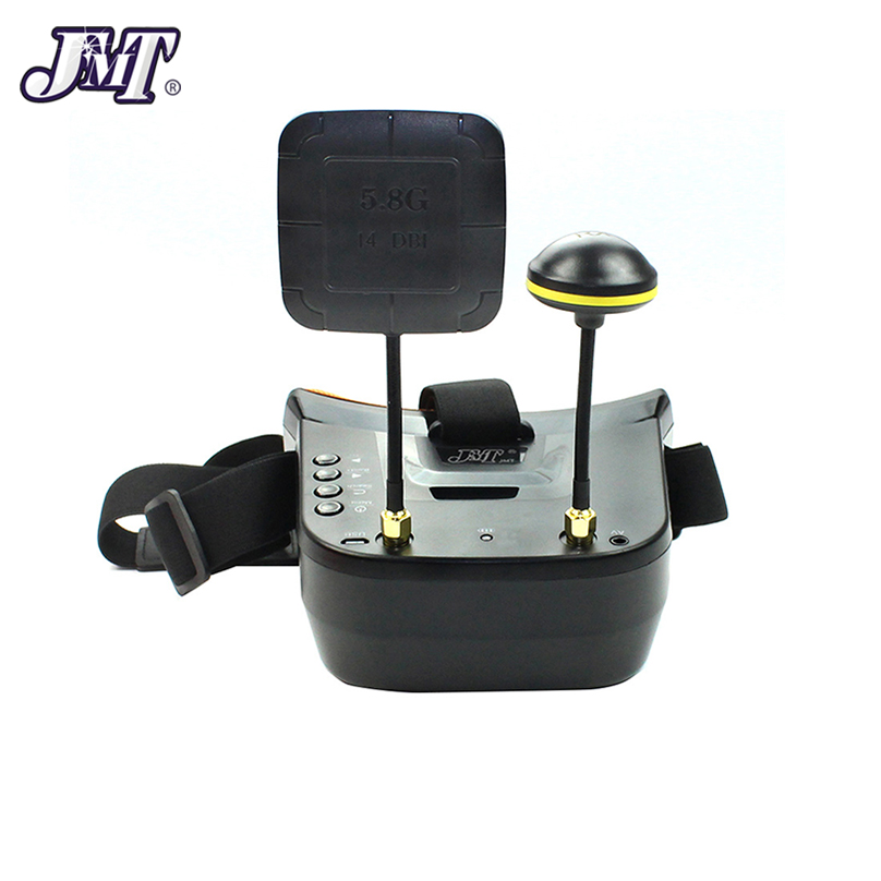 JMT FPV Goggles With Mushroom Antenna Panel 3 inch <font><b>480</b></font> x <font><b>320</b></font> Display Double Antenna 5.8G 40CH Built-in 3.7V for RC Racing Drone image