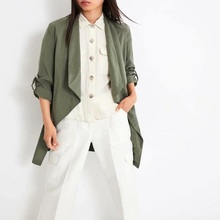 Autumn  Coat For Women Casual Army Green Belt Solid Slim Office Long Jacket With Pockets