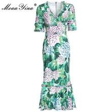Dress Womens Short-Sleeve Hortensia Floral-Print Sexy Mermaid Runway Summer Ruffles V-Neck