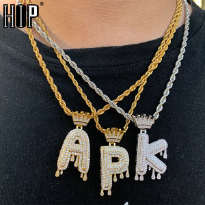 Hip Hop Iced Out Bling Cubic A-Z Drip Crown Zircon Letters Necklaces & Pendant Chain For Men Jewelry with Rope Chain