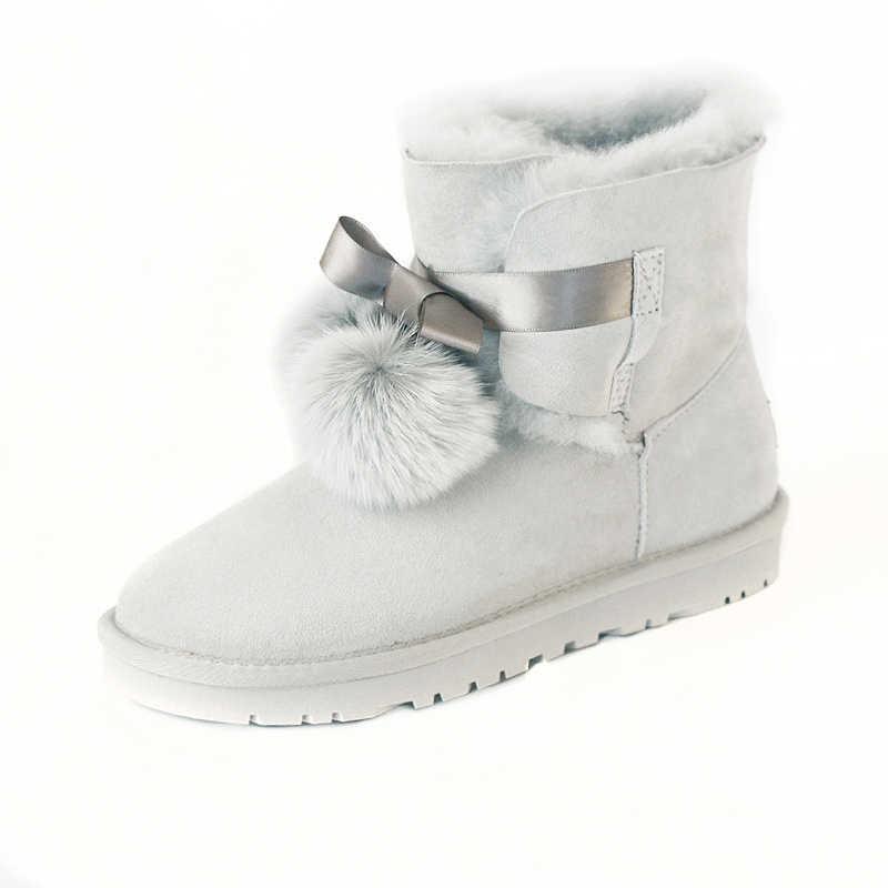 GY ve YY kış yün çizme kadın hakiki koyun derisi deri çizmeler tilki topu koyun kürk kar botları yay olmayan kayma yeni düz kadın ayakkabı