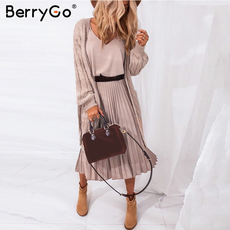 BerryGo Sexy spaghetti strap summer dress women A-line hot pink female pleated midi dress Casual office ladies party dresses 1