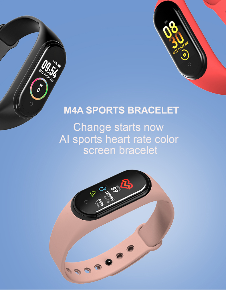 Hdee89405f2404d9ca8c31fd63d2394c4J M4 Color Screen Smart Wristband Heart Rate Monitor Fitness Activity Tracker Smart Band Blood Pressure Music Remote Control