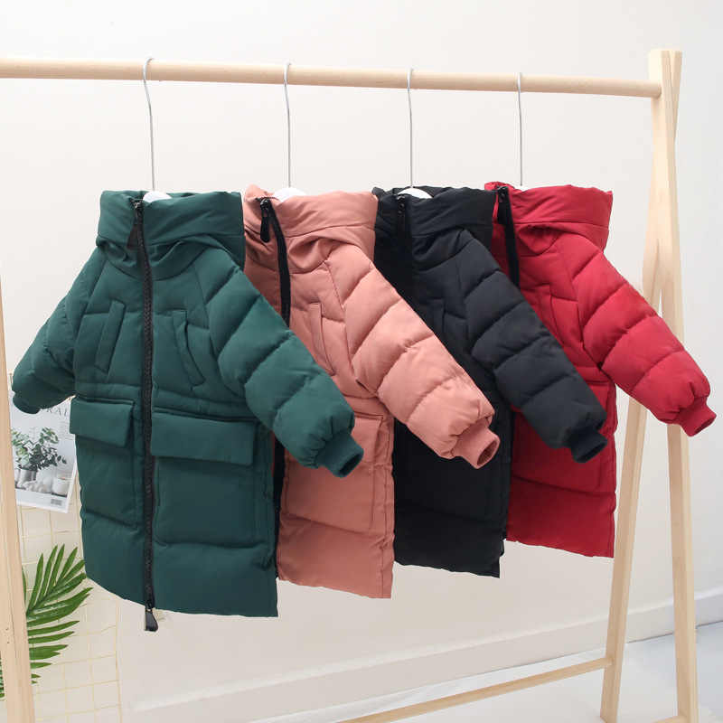 2019 Children's Cotton Long Parkas Winter Jackets Boys and Girls Wear Hodded Down Coat Autumn Kids Outerwear