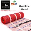 1.5m2 Электрический напольный нагревательный коврик 150 Вт/м2 50cmX3m под плиткой теплый коврик с WiFi термостатом