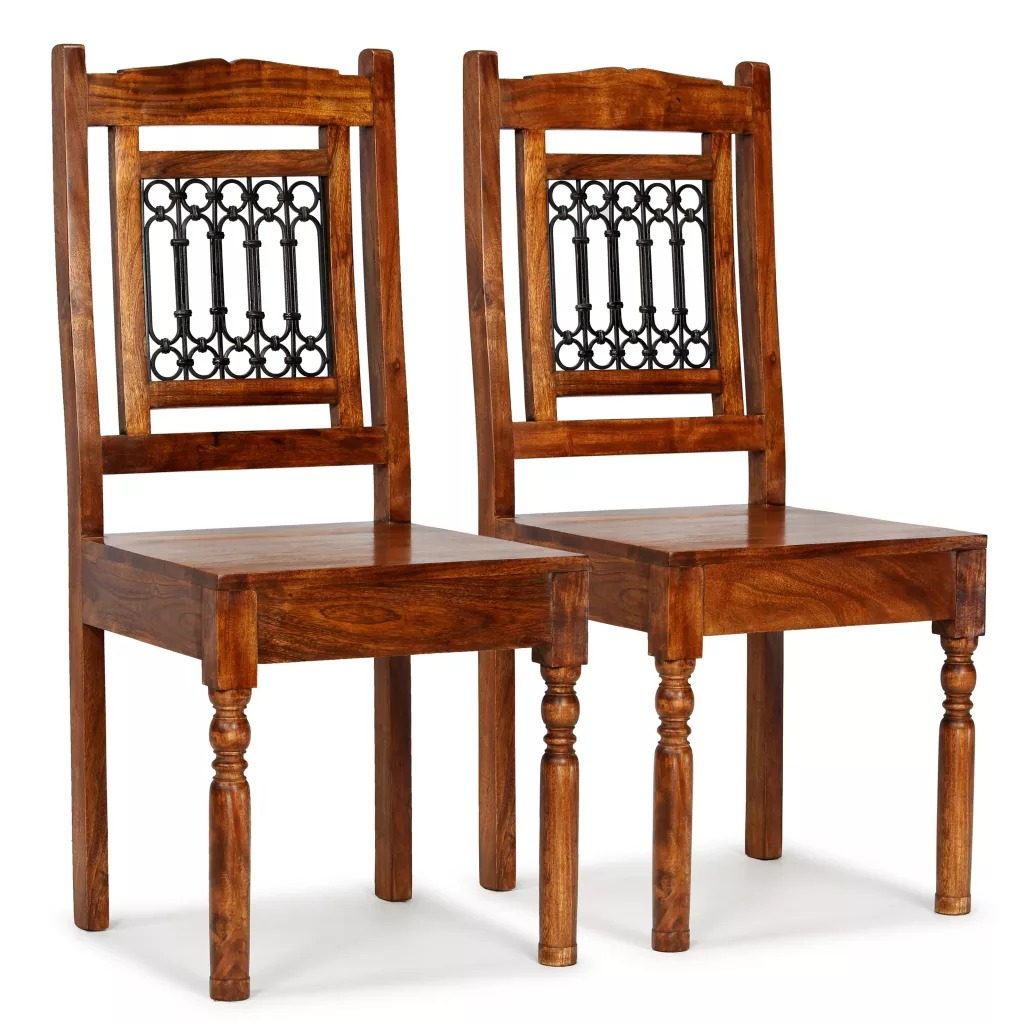 VidaXL Dining Chairs 2 Pcs Solid Wood With Sheesham Finish Classic Living Room Chairs Home Furniture Simple Design EU Warehouse