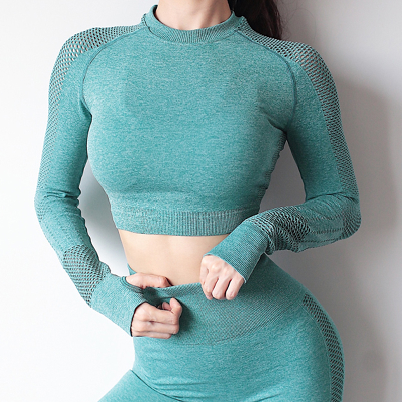 Seamless Yoga Crop Long Sleeve Hollow Sports Yoga Shirt Thumb Hole Running Fitness Workout Tops Sports Wear For Women Gym