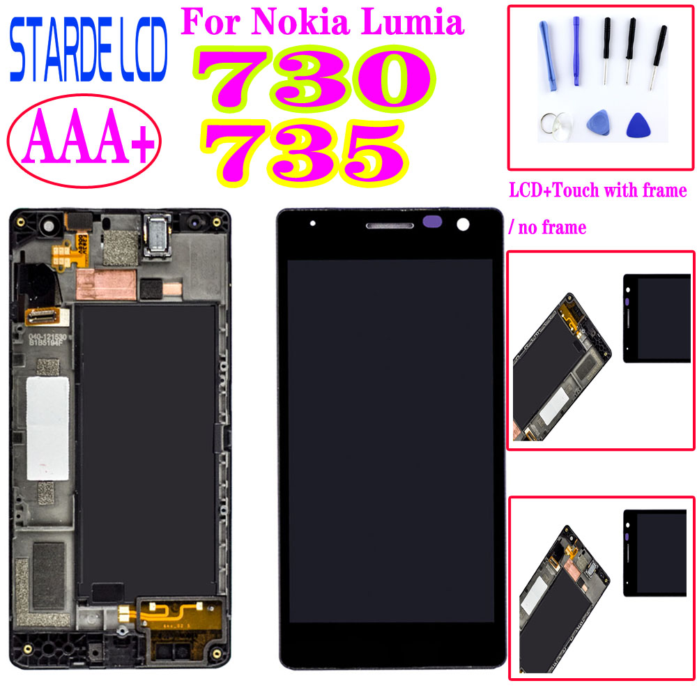 AAA+ For <font><b>Nokia</b></font> Lumia 730 735 RM-1038 RM-1039 RM-<font><b>1040</b></font> LCD Display Touch Screen Digitizer Assembly with Frame/ No Frame image