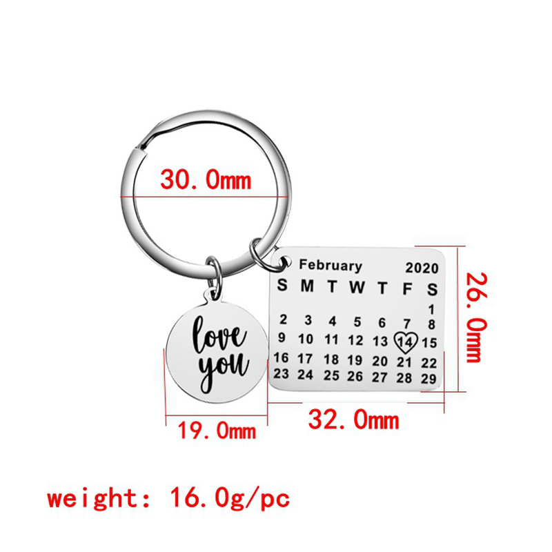 FIMAODZ 2020 Personalized Calendar Keychain Fashion Love You Letter Stainless Steel Key Ring Valentine's Day Birthday Gift