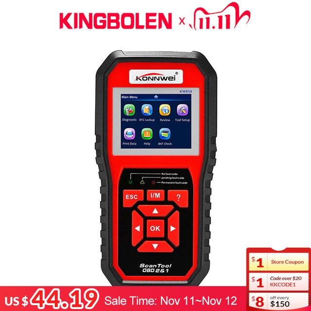 KONNWEI KW850 Code Reader Diagnostic Tool OBD2 Auto Scanner Battery voltage test Free update KW 850  OBDII EOBD Car Fault Engine