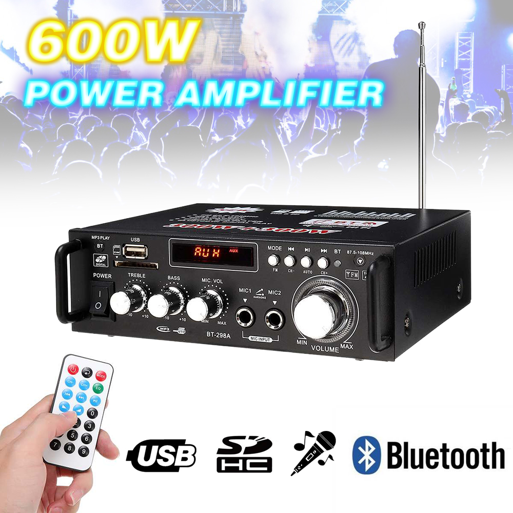 1PCs 600w Home Amplifiers Audio Bluetooth Subwoofer FM SD Mini HIFI Power Amplifiers For Car Home Theater Sound System