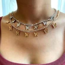 Женское колье с подвеской flatfoosie модное ожерелье 7 бабочками