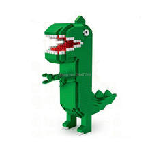 Hot LegoINGlys makers Klassieke cartoon George Tyrannosaurus Rex dinosaurus model mini micro diamant blokken nano bricks speelgoed geschenken(China)