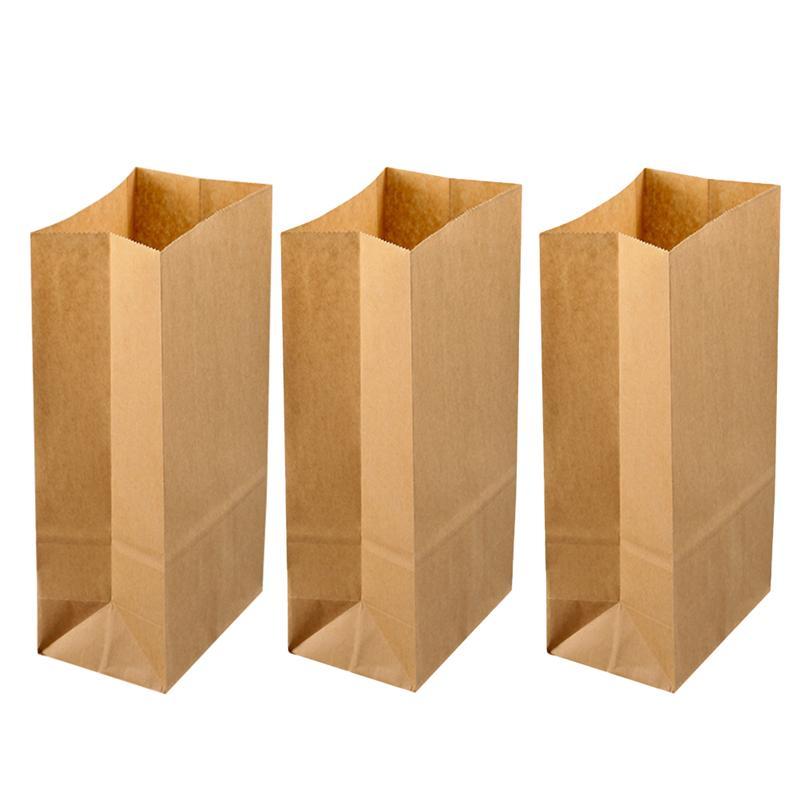 100PCS Kraft Paper Bags Breakfast Square Bottom Paper Bags Candy Food Paper Bags Baking Dessert Party Paper Bags