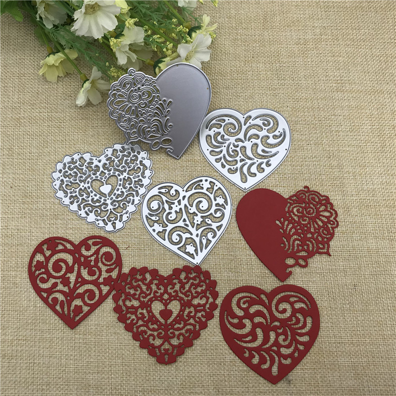 4pcs/set Lace Love Metal Cutting Dies Stencils For DIY Scrapbooking Decorative Embossing Handcraft Die Cutting Template