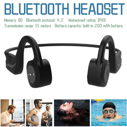 IPX8 Waterproof Bluetooth Headset 8G Memory Bone Conduction Headphones Hands Free Open-Ear Sports Headsets for Running Cycling