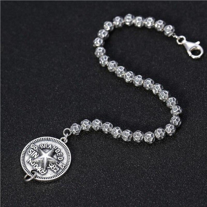 S925 argent pur créatif vent frais hommes et femmes chaîne en argent Thai argent cinq branches étoile lettre ronde hommes bracelet en argent - 3