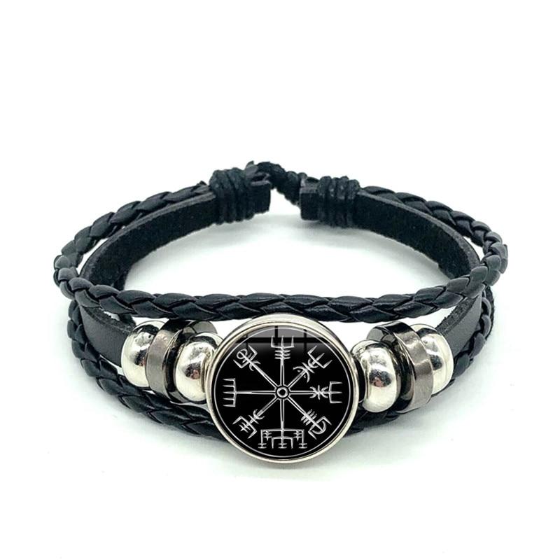 Unique Men\u2019s Black Leather /& Bead Bracelet Viking Norse Compass White Detail Braided Wrap
