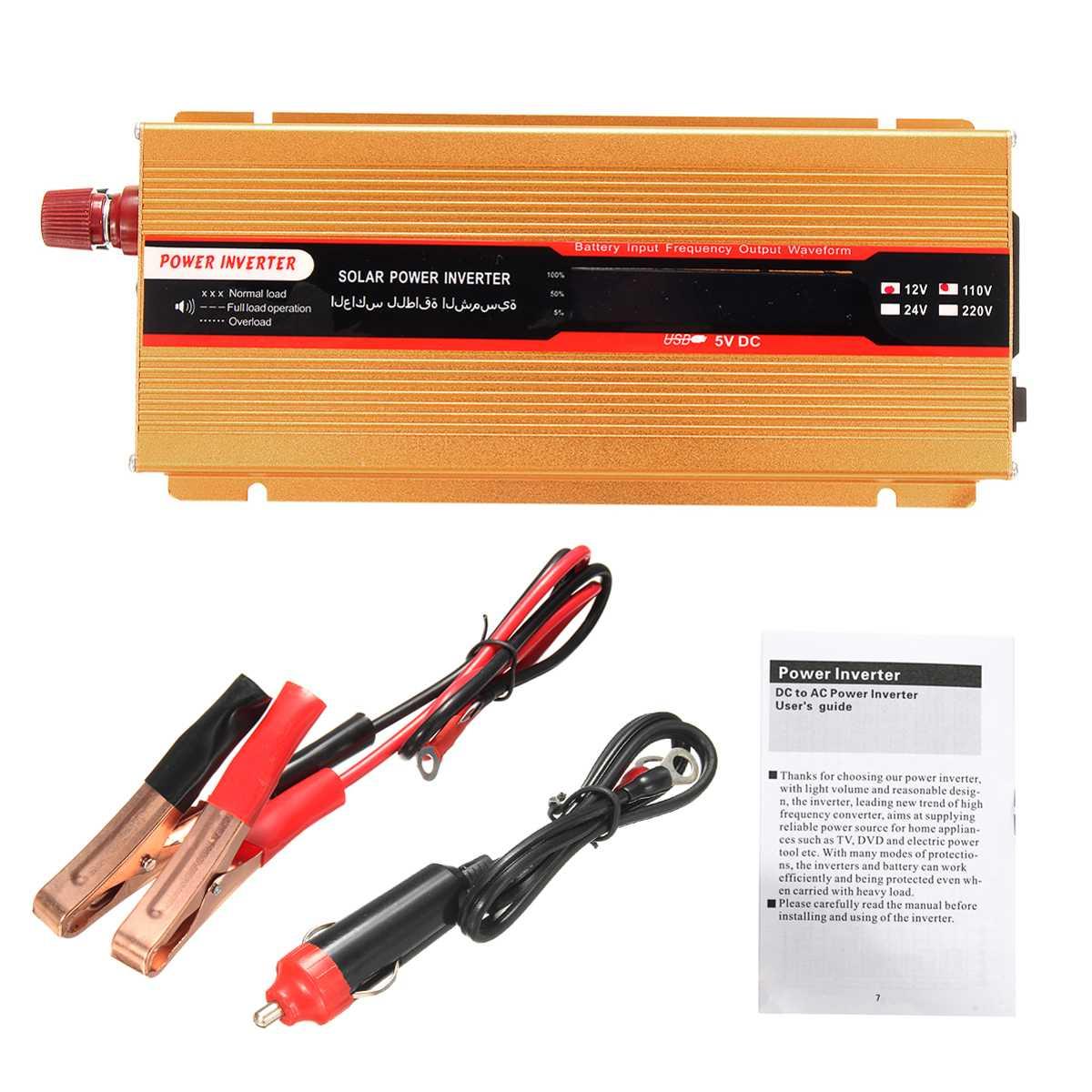 12/24V do AC 220 4000W samochód falownik solarny przetwornica napięcia Adapter USB zmodyfikowany falownik sinusoidalny do samochodu Camping Travaling
