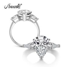 цена на Wholesale 4.5 Carat Pear Cut Created Diamond Ring Three Stones Sterling Solid 925 Silver Bridal Wedding Engagement Ring Jewelry