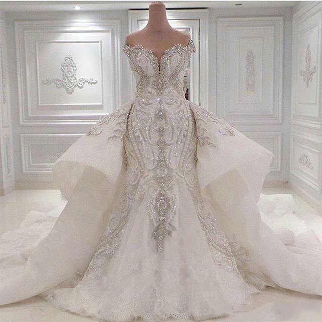 Luxury 2021 Real Image Lace Mermaid Wedding Dresses With Detachable Overskirt Dubai Arabic Portrait Sparkly Crystals Diamonds 1