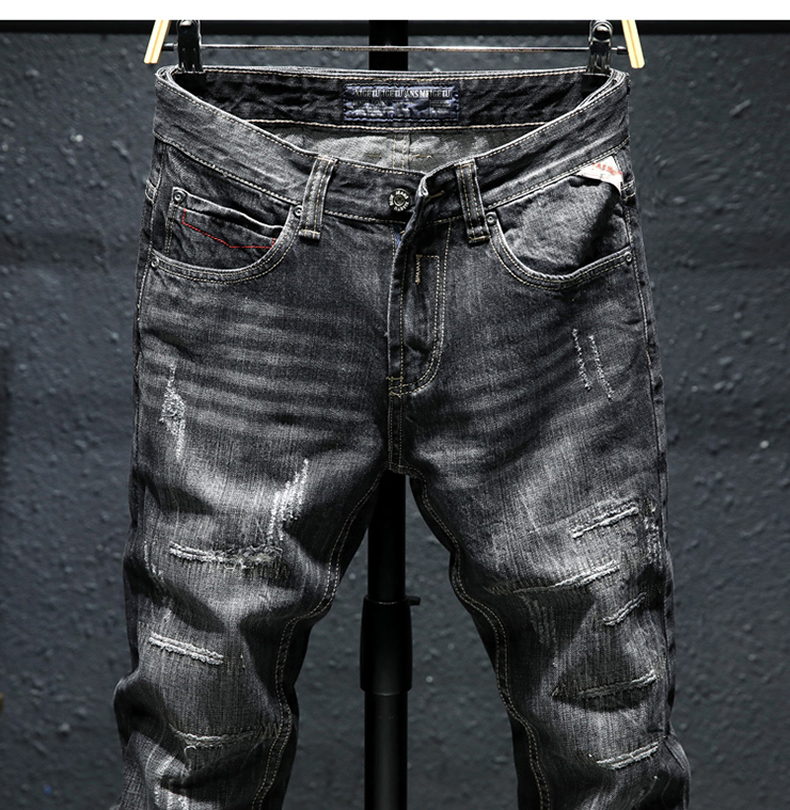 KSTUN Ripped Jeans for Men Slim Fit Stretch Fashion High Street Style Male Denim Pants Frayed Destroyed Vintage Mens Punk  Jeans 13