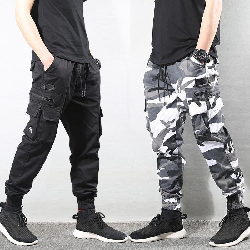Fashion Streetwear Joggers Men High Quality Camouflage Military Harerm Trousers Big Pocket Cargo Pants Men Hip Hop Pants Hombre