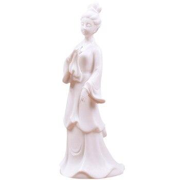 New Chinese Creative Handmade Jade White Porcelain Maid Living Room Office Home Decor Porch Desktop Yoga Girl Character M3067
