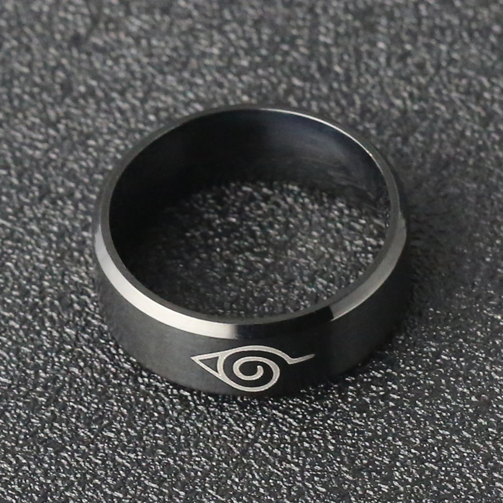 Naruto Ring Leaf Konoha Village Symbal Logo Sign Sasuke Ninja Black Fashion Titanium Steel Anime Jewelry Cosplay Women Wholesale