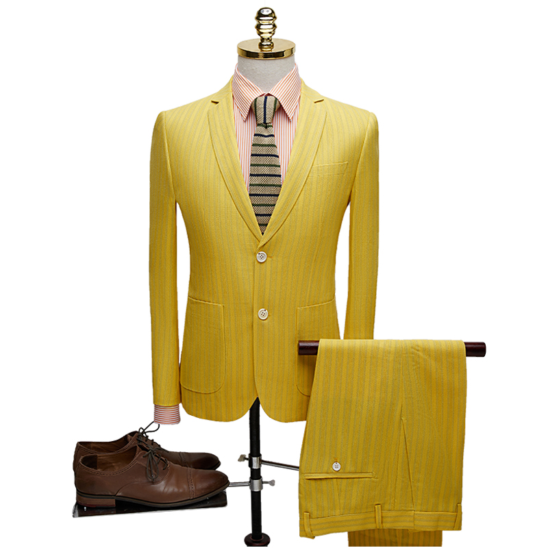 2019 two-button Striped men suit Yellow Casual business slim fit costume homme two piece wedding blazer pants terno masculino