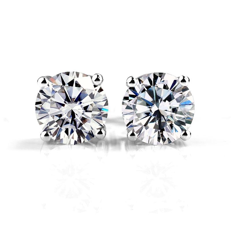 CVD HPHT Lab Growm Diamond Stud Earrings 18K 14K 10K Gold MS...