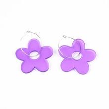 Flower Drop Earrings Acrylic Geometric Hollow Women Dangle New