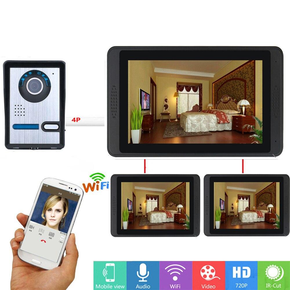 APP Remote Control 7Inch Monitor Wifi Wireless Video Door Phone Doorbell  Intercom Visual Speakerphone Camera System 3 Apartment