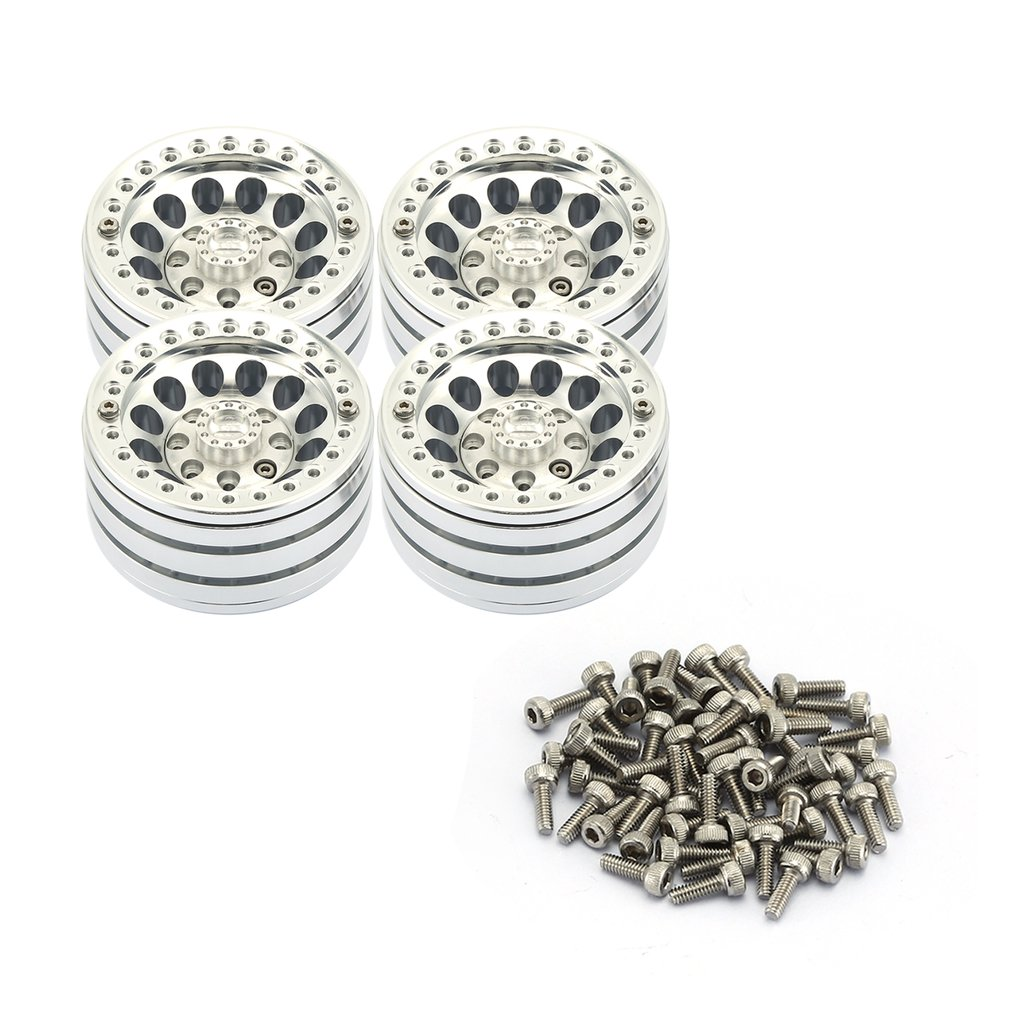 4PCS 1.9-inch Heavy Aluminum Alloy Lock Tire Hub Wheels Rim Set Beadlock Wheels Rims For RC Crawler 1/10 SCX10 90046 TRX4 D90