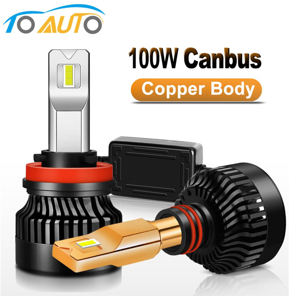 2pcs 100W Canbus LED H4 H1 H7 H8 H11 HB3 9005 HB4 9006 LED Bulbs Car Headlight With Red Copper 12V Auto Lamp 6000K White