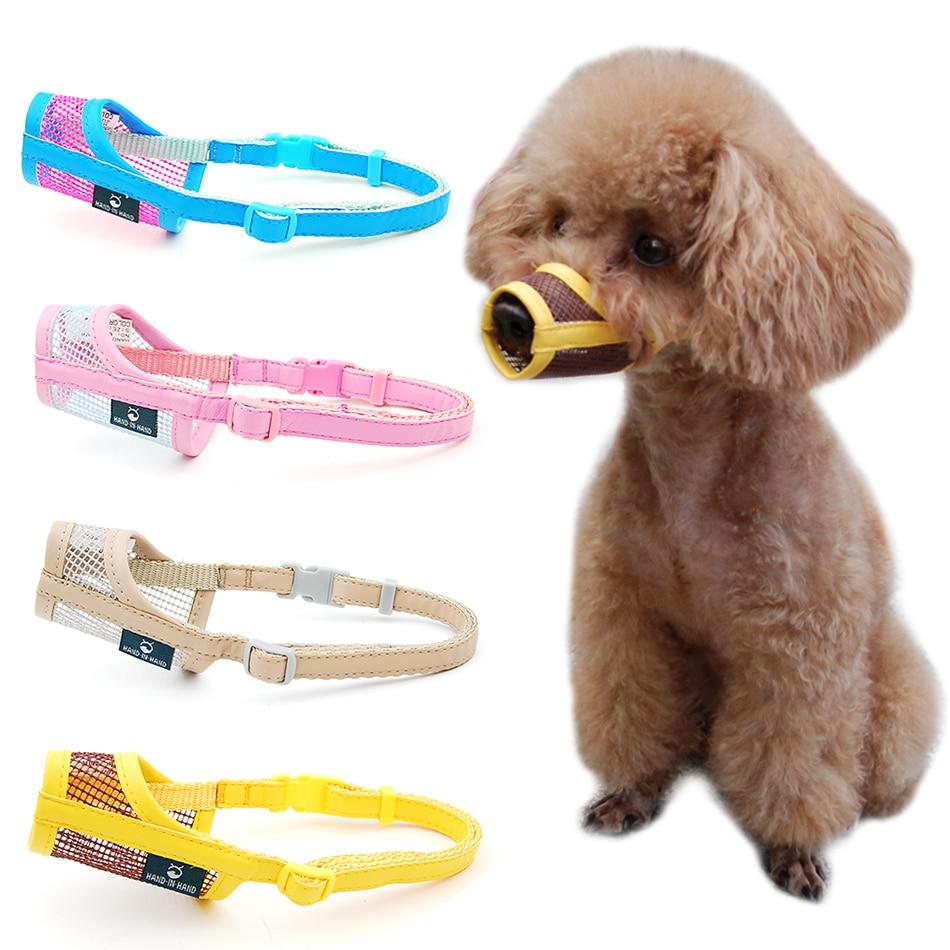 Dog Muzzle Puppy Small Medium Large dog Leatherette Nylon Mesh Muzzle  Pet muzzle