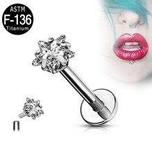 Boucles d'oreilles en titane pour femmes, 2 pièces, barre de Labret en étoile, 16G, Tragus, Cartilage, haltère, Helix, Piercing, bijoux de corps, ASTM F136