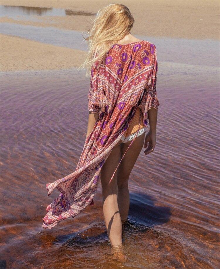 Europe And America Chiffon Printed Beach Skirt Loose And Plus-sized Cardigan Long Skirts Bikini Outer Blouse Seaside Holiday Shi