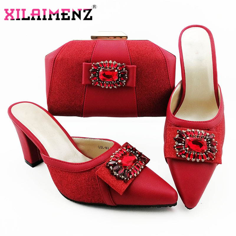 2019 Latest Red Color Pointed Toe Italian Shoes With Matching Bags High Quality Women Shoe And Bag To Match Ladies Wedding