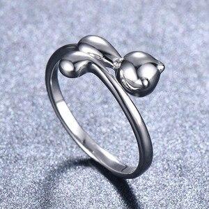 Image 4 - Bague Ringen 100% אמיתי 925 כסף סטרלינג טבעת בעלי החיים חתול צורת כסף טבעת חמוד יפה ליידי תכשיטי להיכרויות