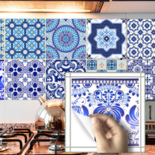 Funlife Blue&White Porcelain Tiles Sticker,PVC Waterproof Bathroom Stickers Self Adhesive Kitchen Wall Retro Home Decor