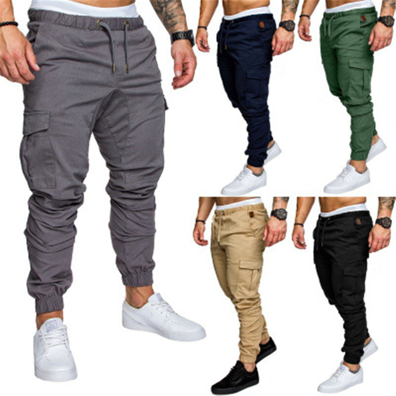 Joggers Pencil Pants Side Pockets Sweatpants Mens Hip Hop Solid Gray Slim Trousers Autumn Male Casual Fashion Cotton Trackpants
