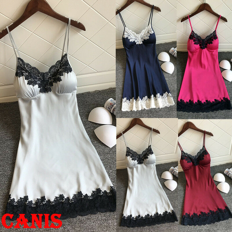 Women Sexy Silk Satin Lace Sleepwear V Neck Babydoll Sleeveless Lingerie Nightdress Set Underwear Clothing image