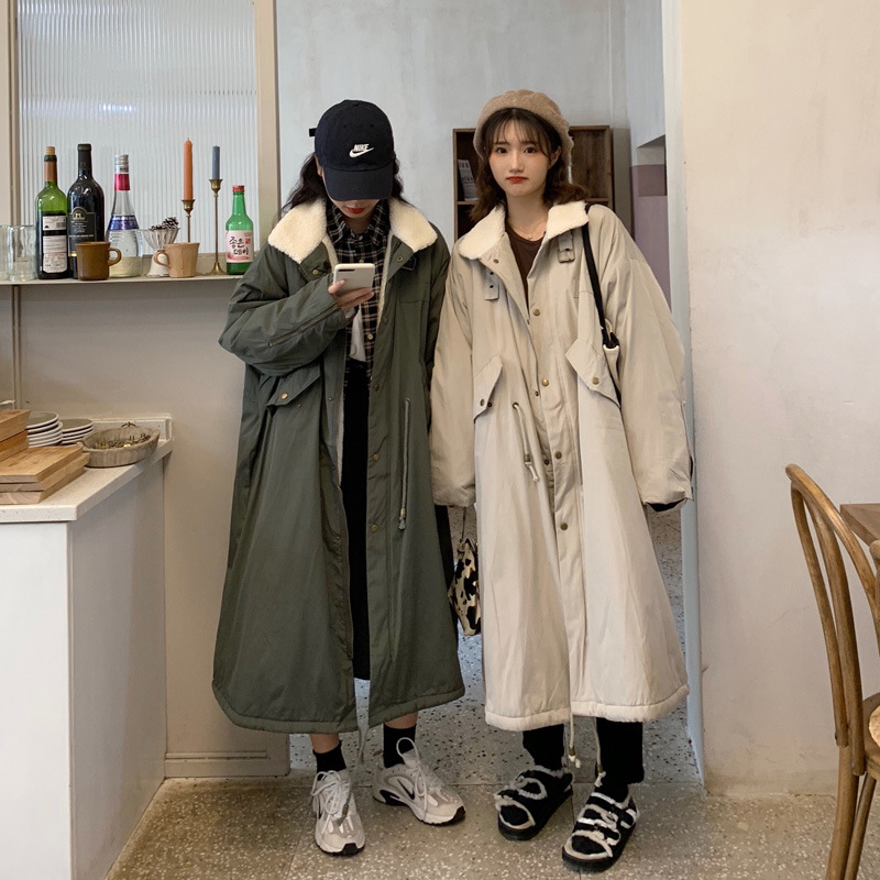 Photo Shoot Cotton Coat Women's Winter Workwear Cotton-padded Clothes Loose-Fit Lambs Wool Over-the-Knee Coat Thick Korean-style